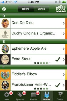 Catalog of all beers & wines