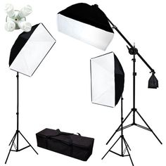Photograpy 2000W 3 Softbox Boom Stand Continuous Lighting Kit Photo Studio Video