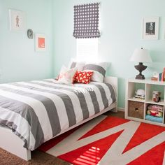 We love that the trend in childrens' rooms is moving toward cool over cutesy. And when a decor scheme is able to encompass kid-friendly patterns and colors that can grow with the little one, well, that's the best of both worlds.   Utah-based interior