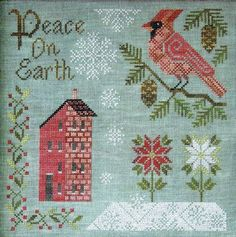 Peace on Earth - cross stitch pattern by Cottage Garden Samplings - A pretty Christmas design with poinsettia, snowflakes and a red cardinal. Cross Stitch Bird, Cross Stitch Designs, Cross Stitching, Cross Stitch Patterns, Diy Embroidery, Cross Stitch Embroidery, Little House Needleworks, Peace On Earth, Christmas Cross