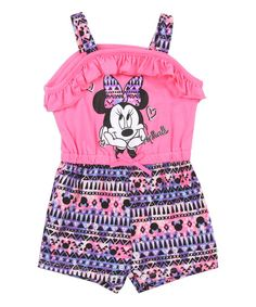 Minnie Mouse Pink & Purple Sleeveless Romper - Infant | zulily