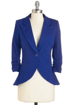 Fine and Sandy Blazer in Royal Blue. No need to roll up your sleeves before the big meeting - this one-button blazer boasts ruched 3/4-length sleeves for a look that means chic and functional business. #blue #modcloth