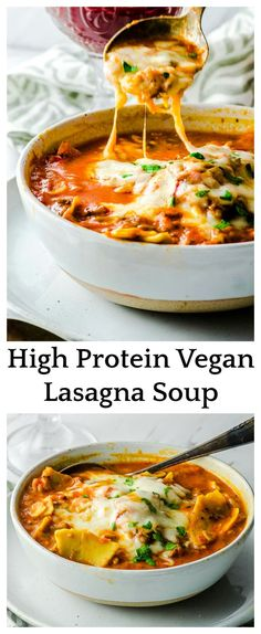 This thick and hearty Lasagna Soup is packed with fiber plant based protein. Vegan and gluten free, is a comforting a satisfying meal in a bowl! via vegan recipes High Protein Vegan Lasagna Soup Vegan Soups, Vegan Dishes, Vegan Vegetarian, Raw Vegan, Vegetarian Meal Planning, Vegan Bean Soup, Vegan Noodle Soup, Easy Vegan Soup, Vegetarian Lasagne