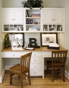 our study space. home office cabinets (or homeschool space)For our study space. home office cabinets (or homeschool space) Office Nook, Home Office Space, Office Workspace, Home Office Desks, Home Office Furniture, Small Office, Office Spaces, Furniture Ideas, White Office