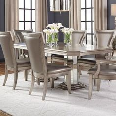 fb1614deec Pulaski Quartered Ash (Grey) Couture Double Pedestal Dining Table Table And  Chairs, Side