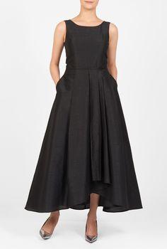 , Ankle length dresses, black dresses, Dry clean dresses, faux wrap skirt dresses, piped trim waist dresses, polydupion dresses, scoop neck dresses, sleeveless dresses, textured dresses