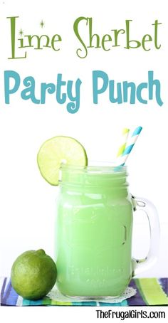 Lime Sherbet Party Punch Recipe from the perfect punch for your next Birthday Party Baby Shower or Green themed celebration Lime Sherbert Punch, Green Punch Recipes, Raspberry Sherbet, Party Punch Recipes, Simple Punch Recipe, Blue Punch, Orange Recipes, Drink Recipes, Drink