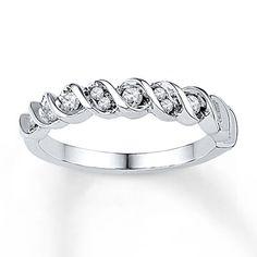 Diamond Anniversary Ring 1/4 ct tw Round-cut 10K White Gold Kay Jewelry