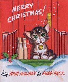 Vintage Greeting Card Christmas Purr-fect Cat Kitten Front Door Stoop r782