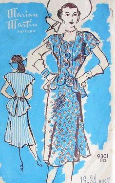 1940s MARIAN MARTIN 9301 PATTERN FLIRTY PEPLUM DRESS SWALLOW TAIL BACK SAUCY DESIGN