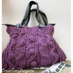 """♥This fashionable, up-to-date bag is certain to catch the attention of all ; you're sure to be asked where you bought it. ♥Very easy pattern using a chunky yarn and thick needles, can be a weekend project! **Yarn**: 90% dralon-10% wool category super bulky """"Bora2"""" by Kangaroo 100gr (3.5 oz)/110 m (120 yds): 6 skeins purple. **Needles**: US 15 (10mm) circular. Adjust needle size to obtain correct gauge **Notions:** tapestry needle, cable needle, fabric for lining, matching sewing thread…"""