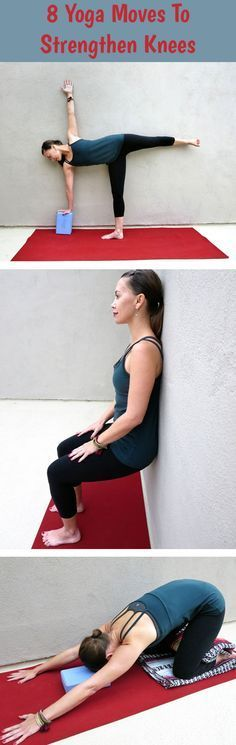 Yoga can be daunting for those with knee problems. Unfortunately, that's a lot of us. Here are 8 yoga moves to help strengthen and stretch the knees! Yoga can be daunting for thos Yoga Bewegungen, Sup Yoga, Wall Yoga, Pilates Yoga, Ashtanga Yoga, Knee Exercises, Stretches, Flexibility Exercises, Workout Exercises