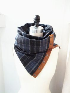 Navy Plaid  Chunky wool circular infinity scarf -- Etsy = $75, but I think I can make it with a thrift store flannel shirt and some leather and snaps/studs from Joann's
