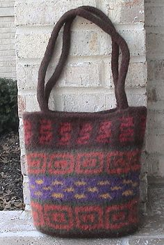 slip stitch knitted then felted bag