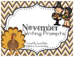 First Grade Writing Prompts! Great Resource for a Writing Center!! Covers topics such as Thanksgiving, Veteran's Day, Scarecrows, Leaves, Etc.