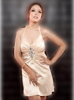 Graceful Deep V Collar Diamond Halter Full Coverage Dress Apricot