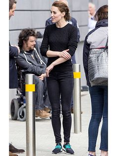 Wearing basic black, Adidas sneakers, and her hair pulled back in a simple updo, Kate went for a casual look to return home after a day of sailing in Portsmouth, England, on Friday.
