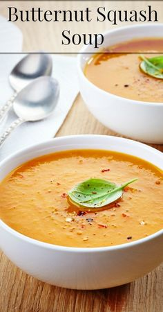 Butternut Squash Soup Ingredients 2 lbs roasted butternut squash 1 tbsp coconut oil 5 cups bone broth (I use chicken) 1 tsp salt (more or less to taste) 1/8 tsp pepper 1/2 tsp cinnamon 1/8 tsp nutmeg 1/4 tsp garlic powder 1 tbsp maple syrup 4 tbsp chicken fat or butter