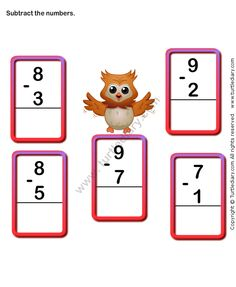 Subtract Numbers and Write the Difference Worksheet Subtraction Worksheets, Kindergarten Math Worksheets, Number Worksheets, School Worksheets, Math Activities, Number Games Kindergarten, Kindergarten Learning, Preschool, Online Games For Kids