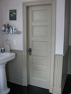 """How to Add """"Old House"""" Character & Charm to Your Newer Home Step 2 Replace Your Builder's Grade Doors with Paneled Doors! Home Renovation, Home Remodeling, 5 Panel Doors, Character Home, Painting Trim, Bathroom Doors, Bathroom Hardware, Shabby, Old Doors"""