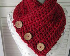 GRIS crème Chunky Crochet cache-col tricot écharpe Crochet bouton écharpe Chunky…
