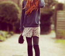 cute, fashion, ginger, girl.