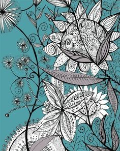 Zentangle-like doodle. Love the background color. Doodle Drawings, Doodle Art, Flower Doodles, Doodle Flowers, Tangle Art, Doodles Zentangles, Art Design, Graphic Design, Art Plastique