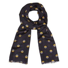 "Inspired by a Japenese priest's robe or ""shichijo"" from The Met collection ca 1573-1615, our Full Moon Pattern Scarf features a striking graphic pattern in navy and gold."
