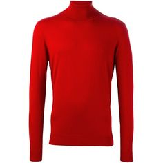 Laneus roll neck jumper (705 CNY) ❤ liked on Polyvore featuring men's fashion, men's clothing, men's sweaters, red, mens red sweater and mens roll neck sweater