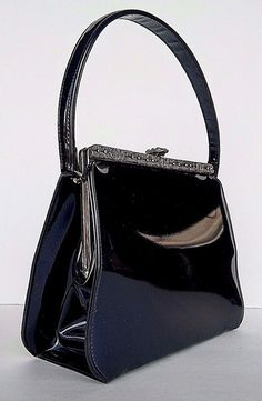 Vintage Navy Blue Shimmer Patent Purse Bag Theodor Baguette Handbag Retro Pin Up #TheodorCalifornia #Baguette #SpecialOccasion