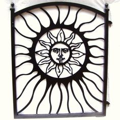 Garden Gate Aztec Sun Face Metal Art Powder Coated Black