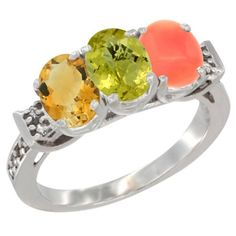 14K White Gold Natural Citrine, Lemon Quartz and Coral Ring 3-Stone 7x5 mm Oval Diamond Accent, sizes 5 - 10 * Insider's special review you can't miss. Read more  : Jewelry Ring Bands