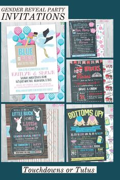 Large Selection to choose from at Touchdowns or Tutus. Print and save! Gender Reveal Party Invitations, Reveal Parties, Handmade Gifts, Tutus, Kid Craft Gifts, Handcrafted Gifts, Hand Made Gifts, Diy Gifts, Homemade Gifts