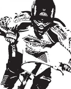 biker in black and white Free Vector
