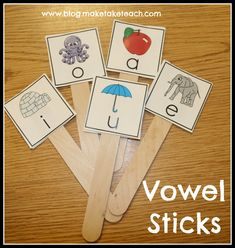 Teaching short vowel sounds- perfect practice makes perfect. Teaching short vowels and a free printable for making your own vowel sticks. Vowel Activities, Alphabet Activities, Reading Activities, Reading Groups, Literacy Centers, Phonics Reading, Teaching Reading, Teaching Ideas, Speech Therapy