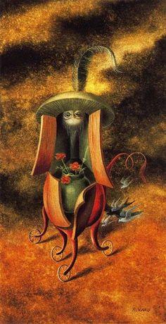 El VISITANTE, Remedios Varo Uranga (1908~1963, Spanish-Catalan born Mexican para-surrealist painter and anarchist)