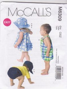 Babies playclothes pattern sundress romper bloomers diaper cover hats size s m l xl McCall's 6309 UNCUT on Etsy, $3.99