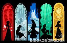 Snow White, Cinderella, Aurora, Ariel, Belle.