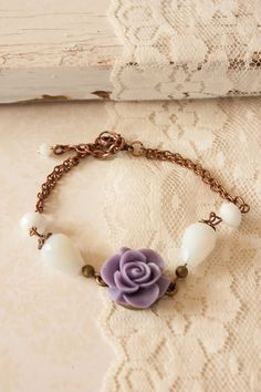 Items similar to Copper Bracelet with Purple Matte Resin Flower and White Teardrop Glass Beads, White Beaded Adjustable Bracelet, Copper Chain Bracelet on Etsy Resin Flowers, Copper Bracelet, White Beads, Adjustable Bracelet, Bracelet Making, Glass Beads, Handmade Jewelry, Pendants, Chain