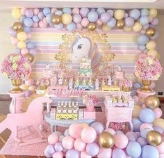 I just love a unicorn theme party. Carousel Birthday Parties, Carousel Party, Unicorn Themed Birthday Party, Girl Birthday Themes, Baby Girl Birthday, 1st Birthday Parties, Birthday Party Decorations, Shower Party, Baby Shower