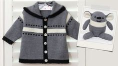 Barry Bear Hoodie Jacket: Free Knitting Patterns and Projects Crochet For Boys, Knitting For Kids, Free Knitting, Knitting Gauge, Baby Knitting Patterns, Baby Patterns, Crochet Supplies, Knitted Baby Clothes, Baby Cardigan
