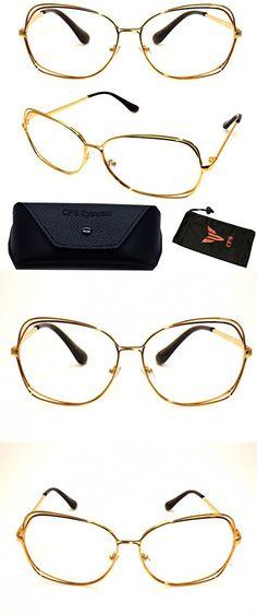 58f17a7ebf ( VRC02)Vintage Classic Oversized Large Metal Gold Silver Women Fashion  Designer Reading Glasses