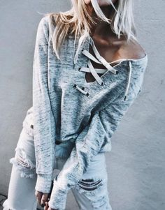 lace up sweater + one teaspoon jeans... - Total Street Style Looks And Fashion Outfit Ideas