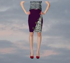 Purple pencil skirt slash front print bodycon skirt safety pin stretchy skirt…