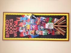 The Banned Books Week bulletin board