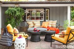 outdoor room: grays with feisty orange