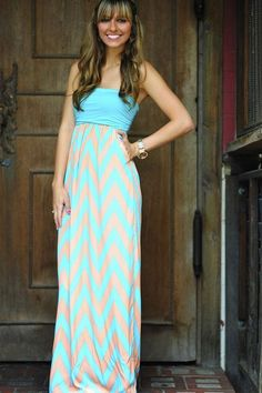 Strapless ocean breeze chevron maxi dress fashion.. click on pic to see more