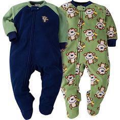 """Gerber Baby Boys"""" 2 Pack Blanket Sleepers"""