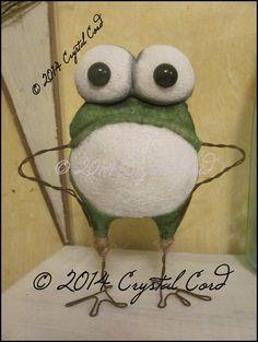 Whimsical frog toad primitive summer spring home decor creepy cute country decor Farm Garden HaFair