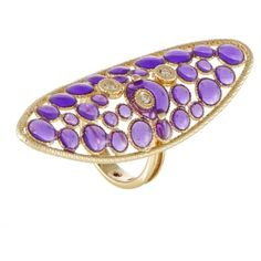 Pre-owned Roberto Coin Bollicine 18K Yellow Gold Diamond and Purple... ($1,155) ❤ liked on Polyvore featuring jewelry, rings, gold statement ring, yellow gold rings, yellow gold diamond rings, gold cocktail rings and thick band rings